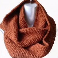 Orange Wool Blend Infinity Scarf