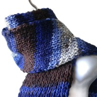 Blue Grey Brown Vegan Knit Scarf